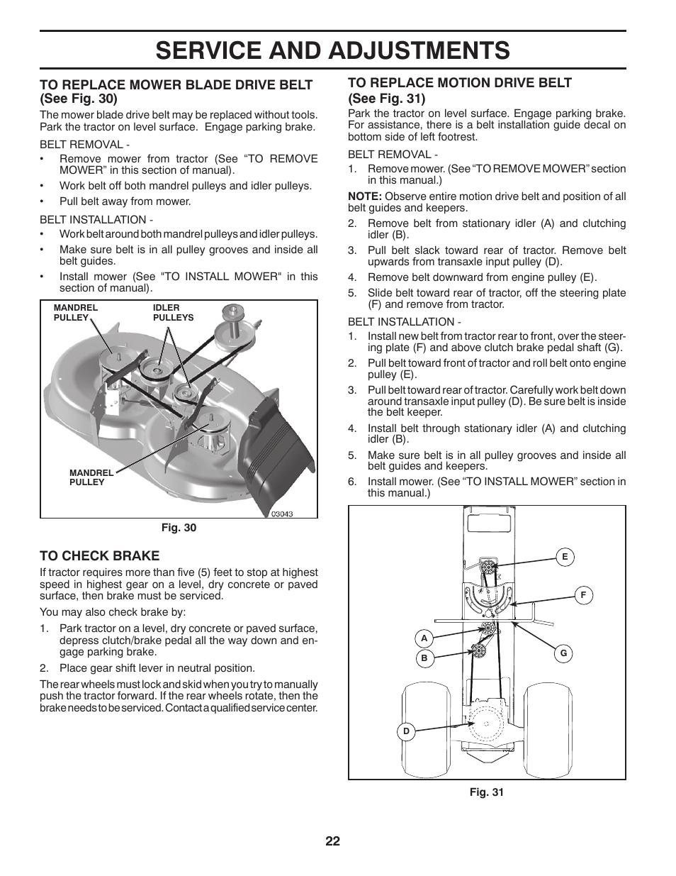 Poulan Pro 42 Inch Riding Mower Drive Belt Diagram : poulan, riding, mower, drive, diagram, Service, Adjustments, Poulan, PB175G42, TRACTOR, Manual