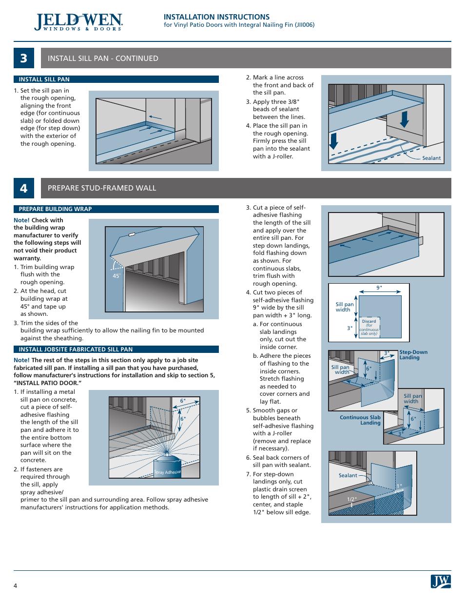Jeld Wen Patio Doors Installation Instructions