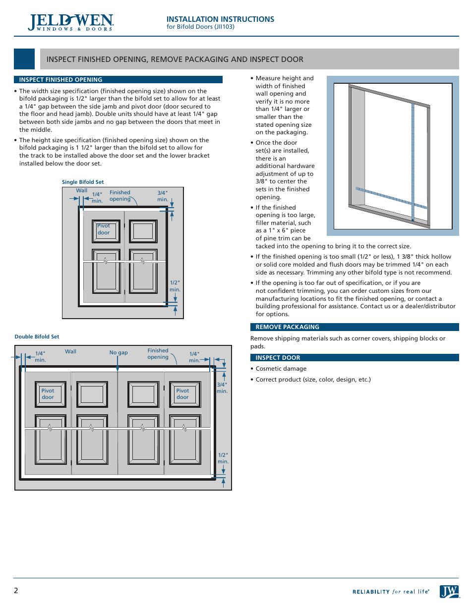 Installation Instructions  Jeldwen Jii103 Bifold Doors