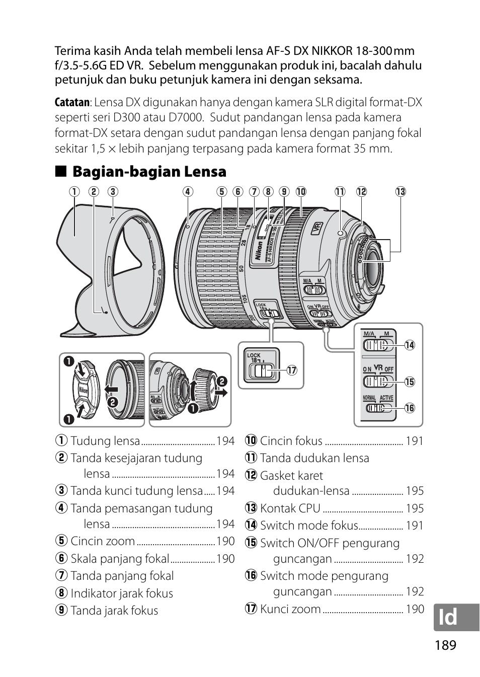 Bagian-bagian Kamera : bagian-bagian, kamera, Bagian-bagian, Lensa, Nikon, 18-300mm-f-35-56G-ED-VR-AF-S-DX-Nikkor, Manual