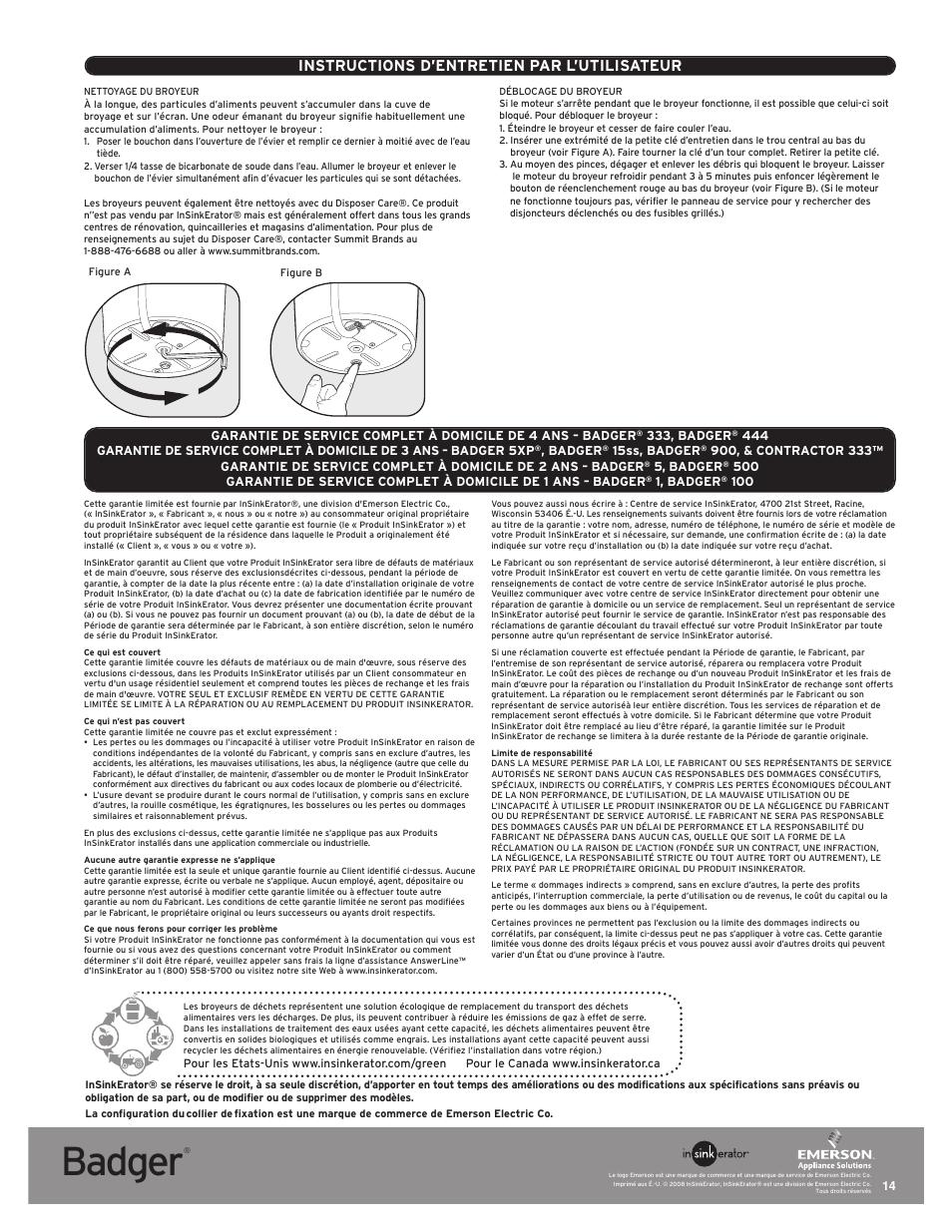 Insinkerator Badger 500 Manual : insinkerator, badger, manual, Badger,, Instructions, D'entretien, L'utilisateur, InSinkErator, Badger, Manual, Original