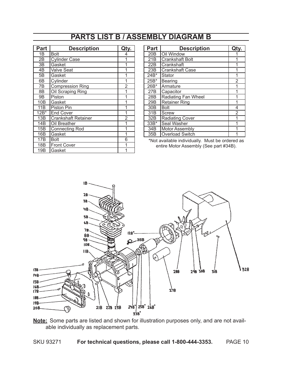 Central Pneumatic Air Compressor 21 Gallon Parts : central, pneumatic, compressor, gallon, parts, Parts, Assembly, Diagram, Harbor, Freight, Tools, VERTICAL, 93271, Manual
