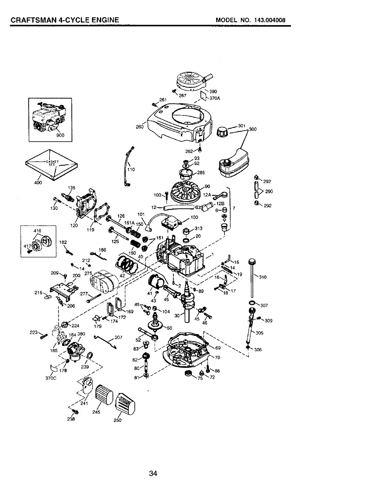 Craftsman 917.77341 CRAFTSMAN 4-CYCLE ENGINE MODEL NO. 143