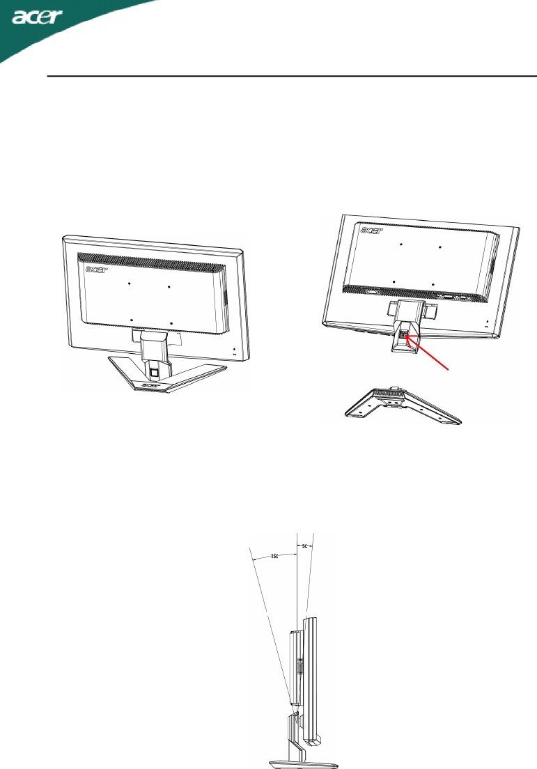 Acer X223W Attaching / Removing the Base, SCREEN POSITION