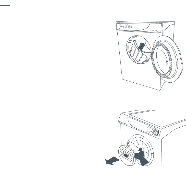 Fisher & Paykel AD39, AD55, ED56 Cleaning the lint lter