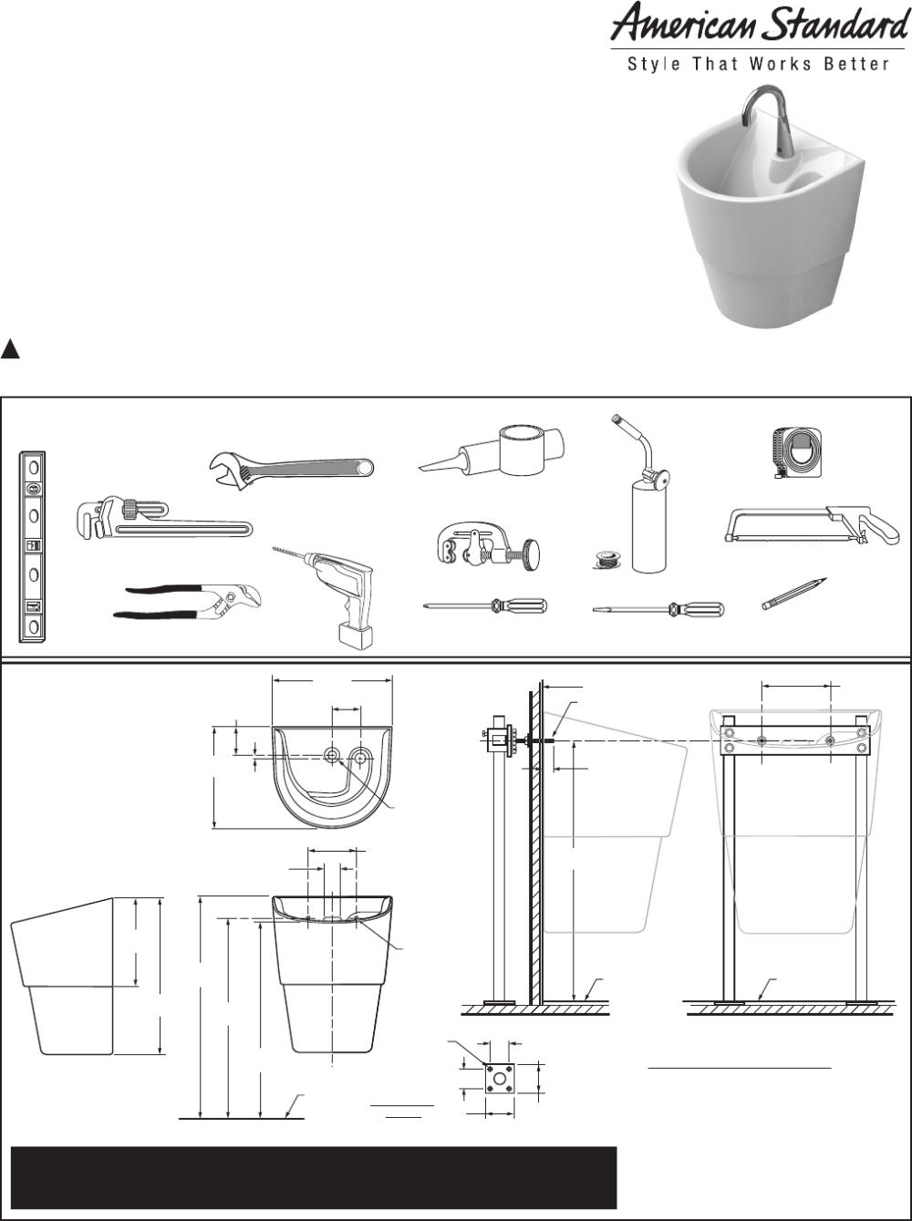 medium resolution of american standard 9118 1 9118 111 9118 15 icu sink system installation instructions