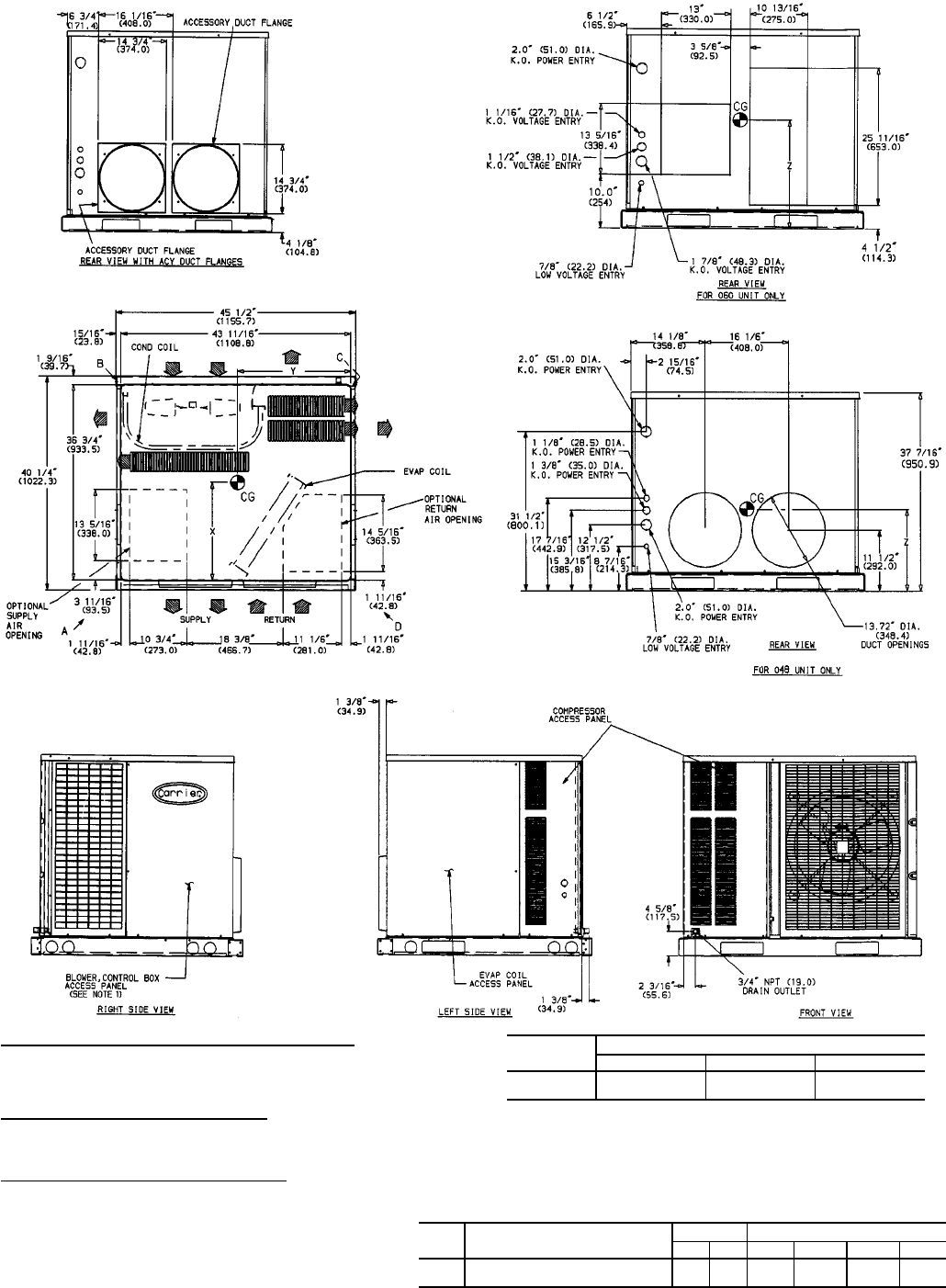 Carrier 50SS018-060, 50SX024-060 Fig. 5 Dimensions; Units