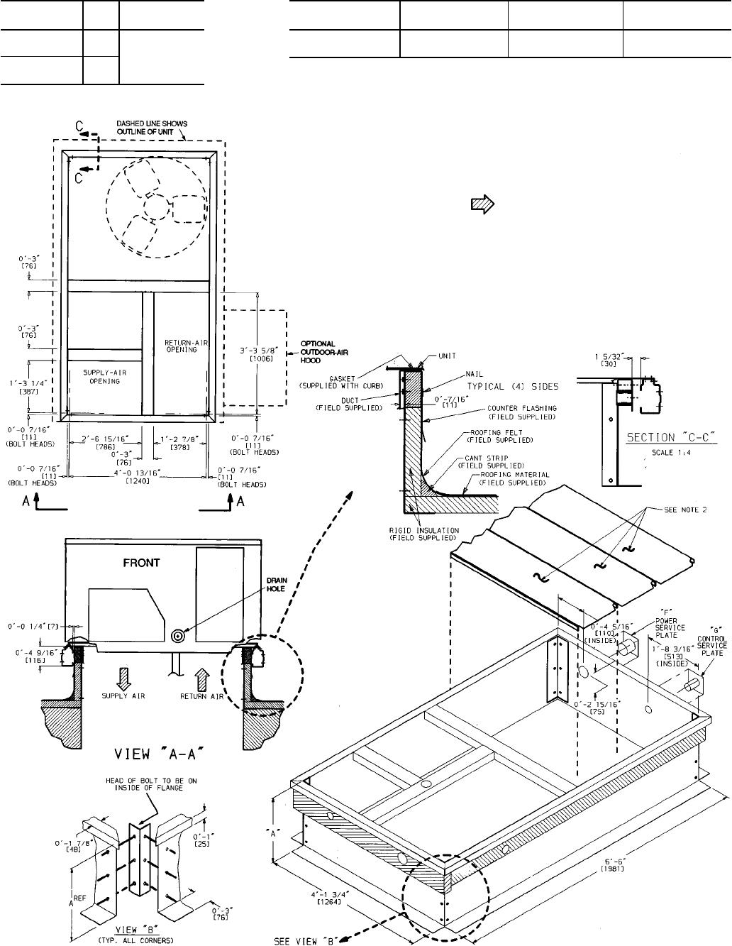 Carrier 012 50ljq008 Fig 1 Roof Curb Dimensions