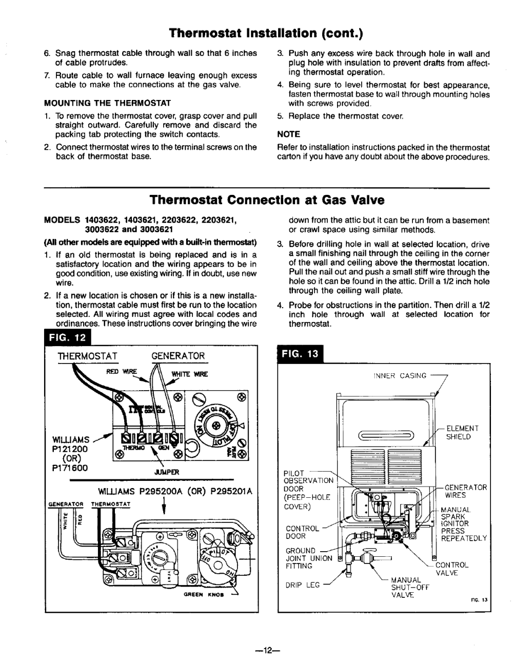 medium resolution of williams thermostat installation cont thermostat connection at gas valve 1