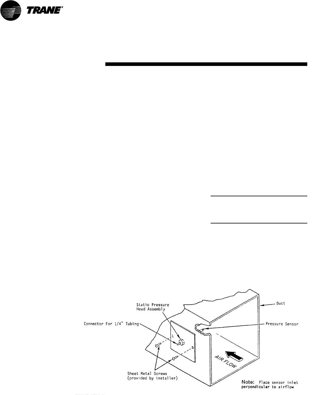Trane Scxg Svx01b En Static Pressure Transducer Installation Vav Units Only