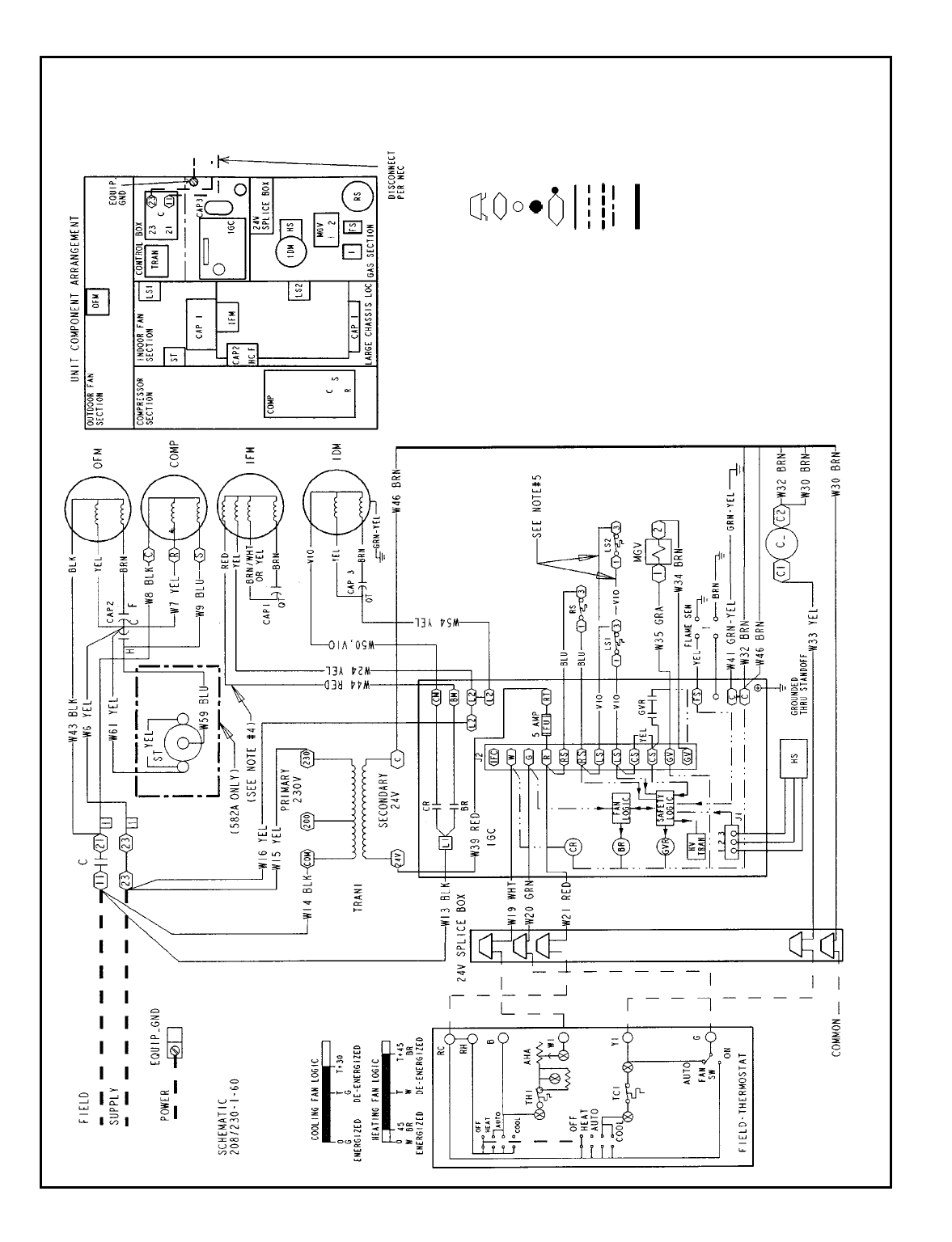 Bryant 582A TYPICAL WIRING SCHEMATIC, 582A018-060; 208/230