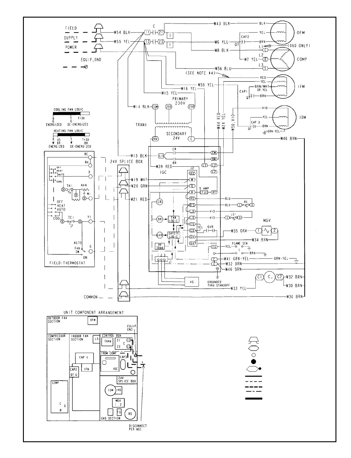 Bryant 582A TYPICAL WIRING SCHEMATIC, 582A030-060; 208/230