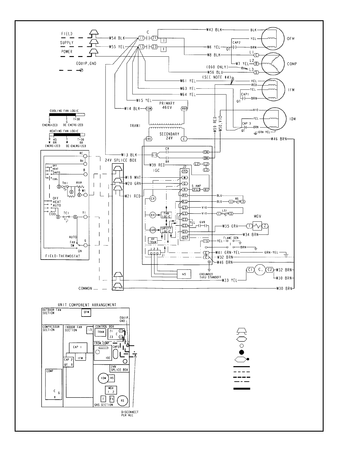 Bryant 582A TYPICAL WIRING SCHEMATIC, 582A036-060; 460-3-60