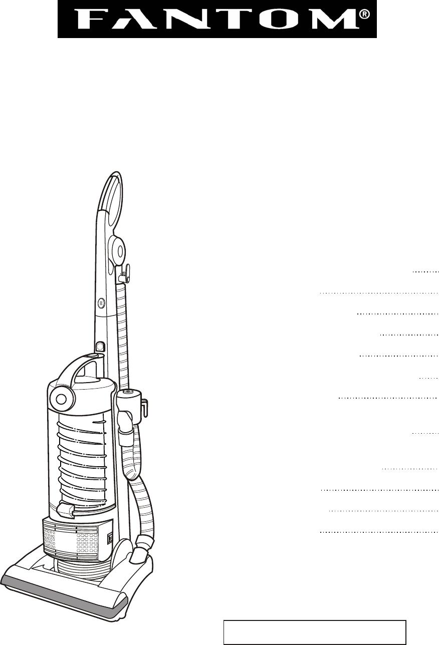 Fantom Vacuum FM741HR instruction manual