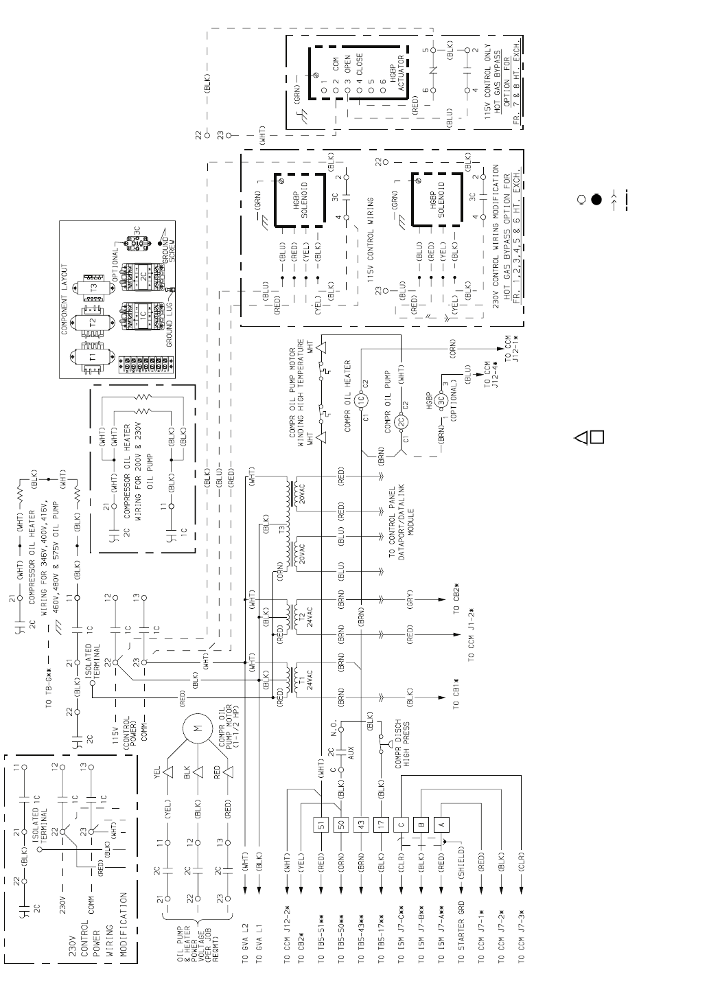 Carrier 19XR, XRV Fig. 48 Power Panel Wiring Schematic