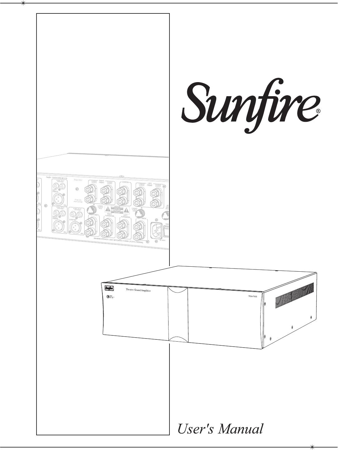 Sunfire TGA-7201-230, TGA-7401-230, TGA-7201, TGA7401 manual