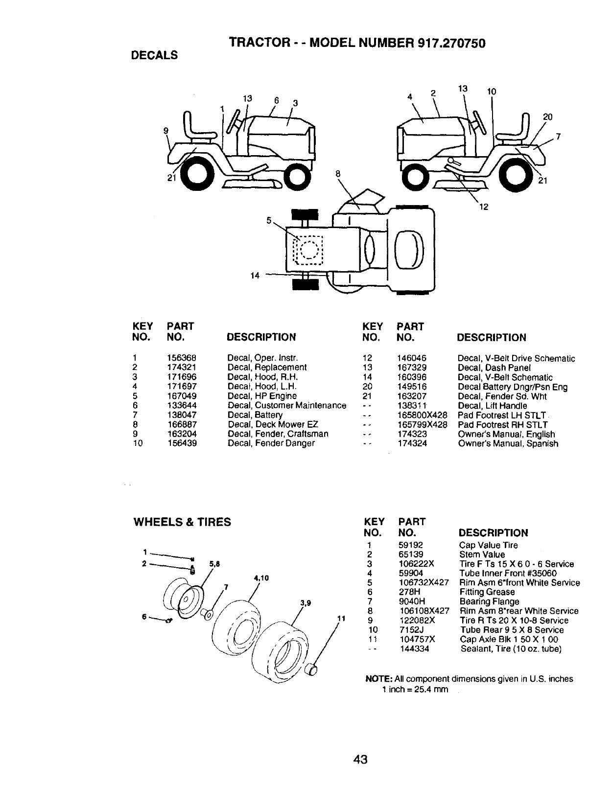 Craftsman 917.27075 DECALS