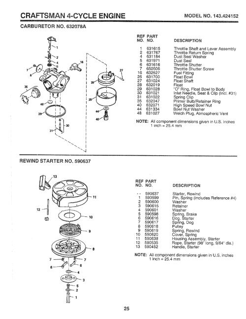 small resolution of craftsman 917 37248 craftsman 4 cycle engine modelno 143 424152 carburetorno 632078a