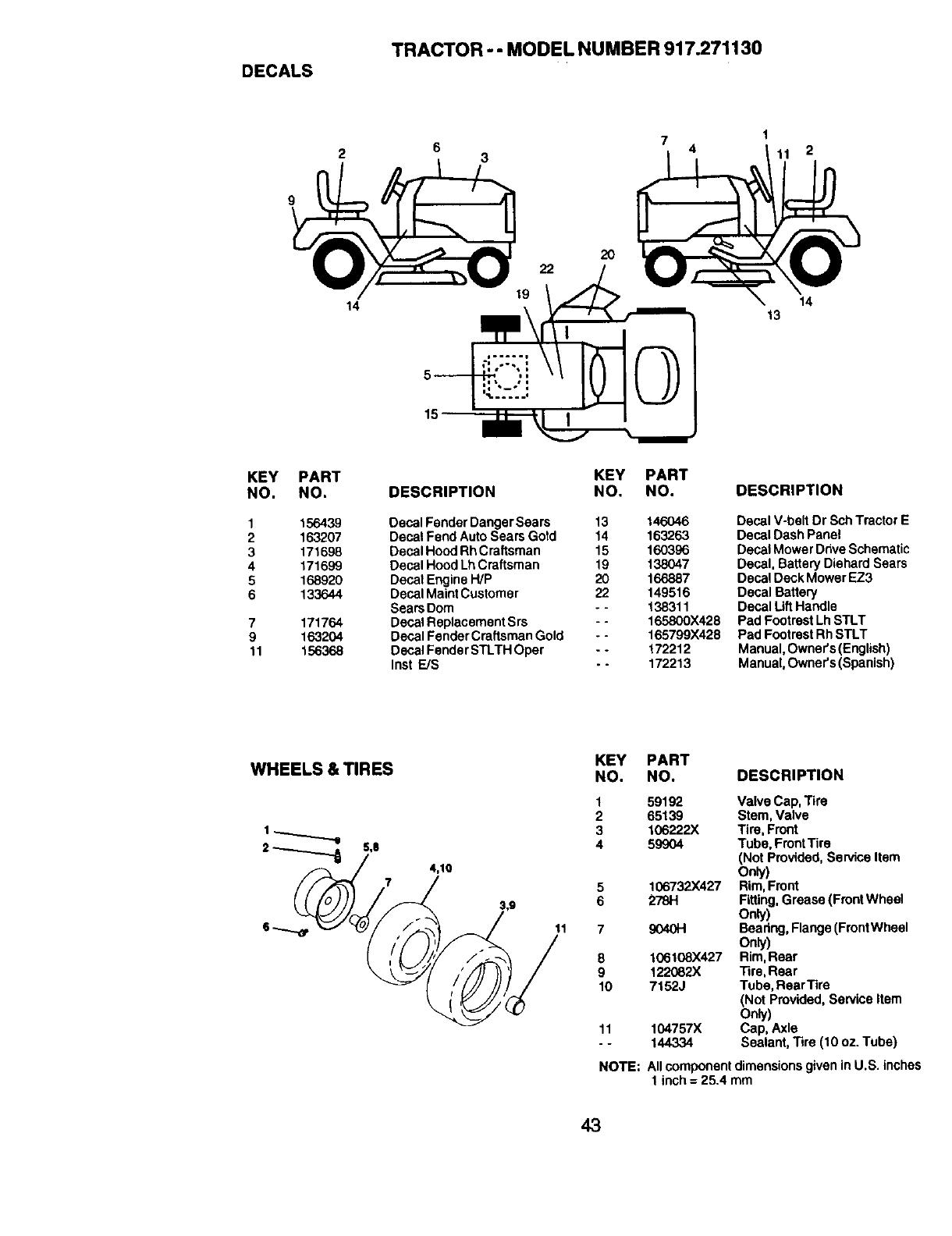 Craftsman 917.27113 DECALS