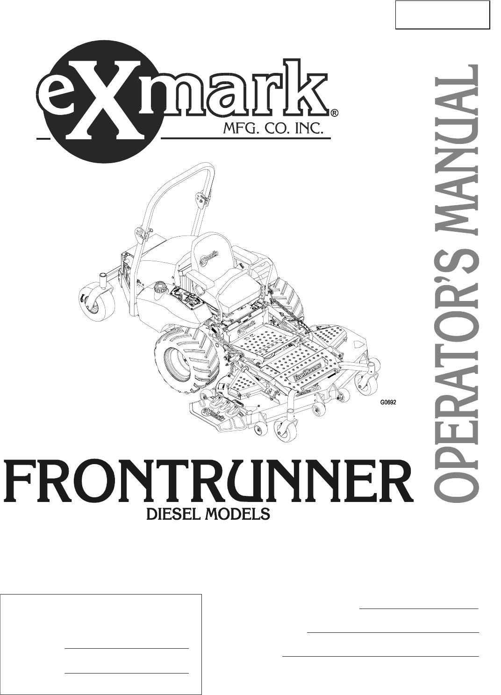 Exmark Frontrunner manual
