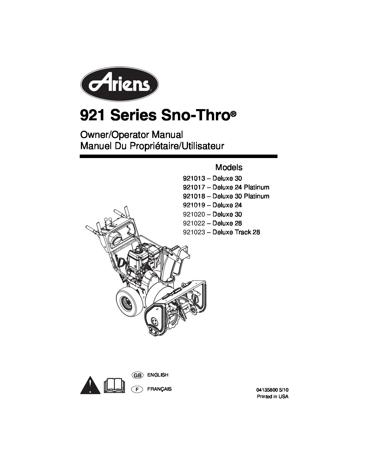 Ariens 921013 manual