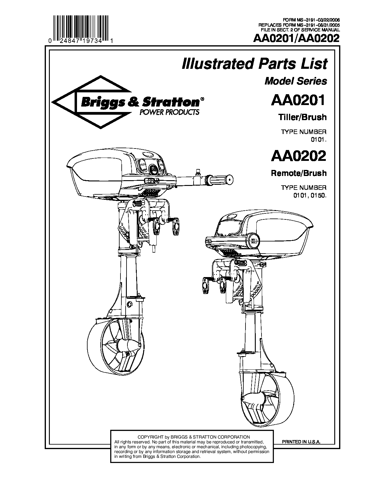 Briggs & Stratton Tiller manuals