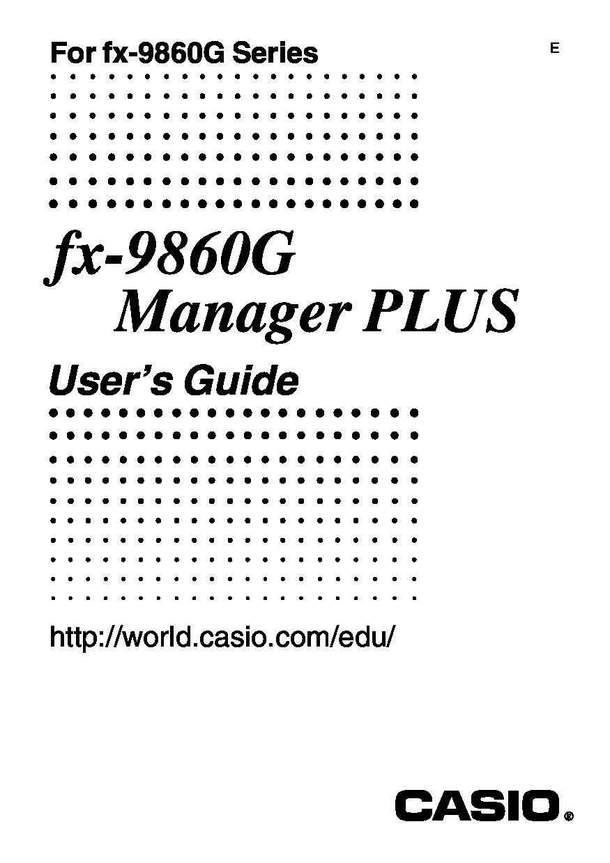 Casio FX-9860G manual