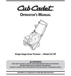 lawn and garden snow blower cub cadet 221 hp manual [ 1275 x 1650 Pixel ]