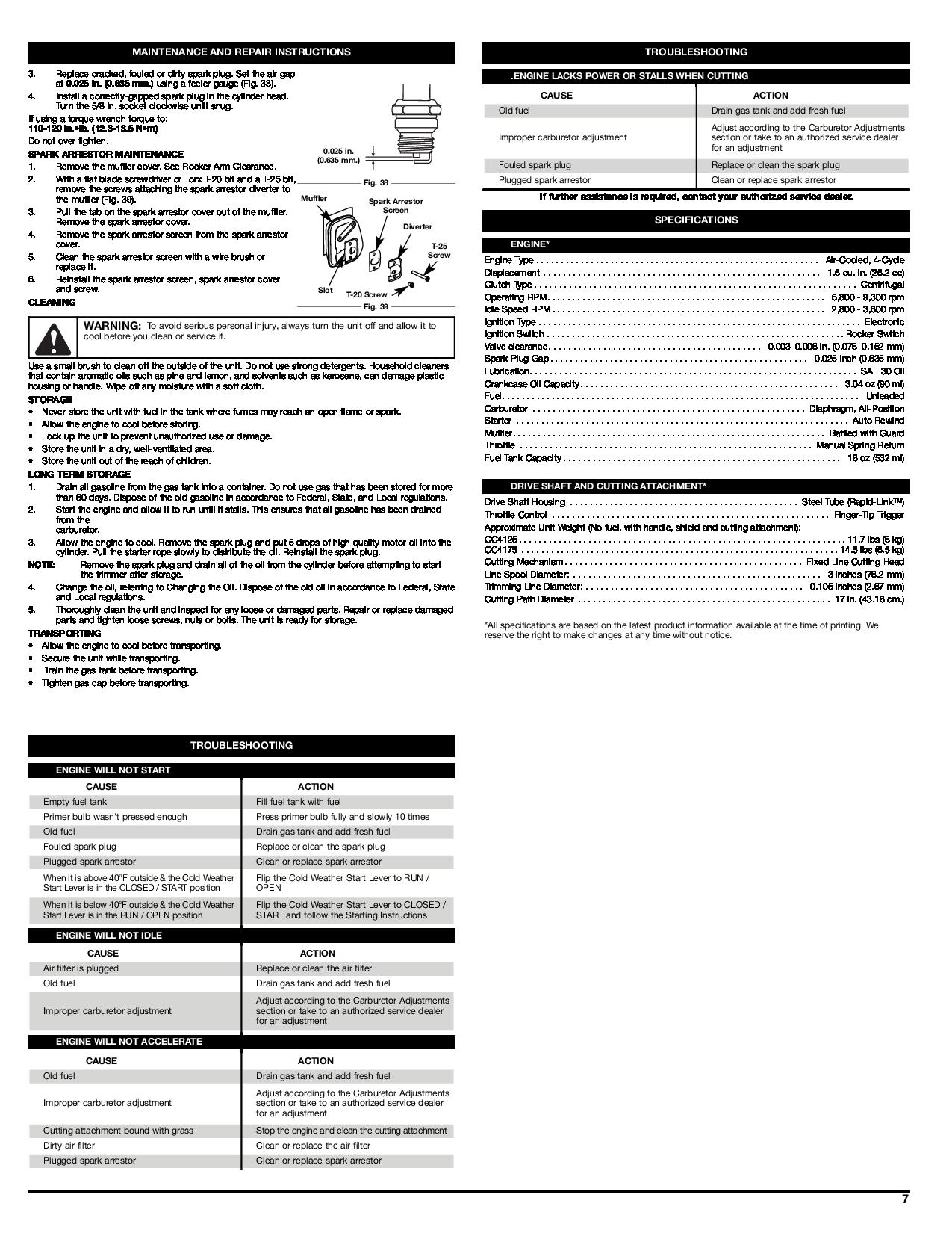 Cub Cadet CC4125, CC4175 manual