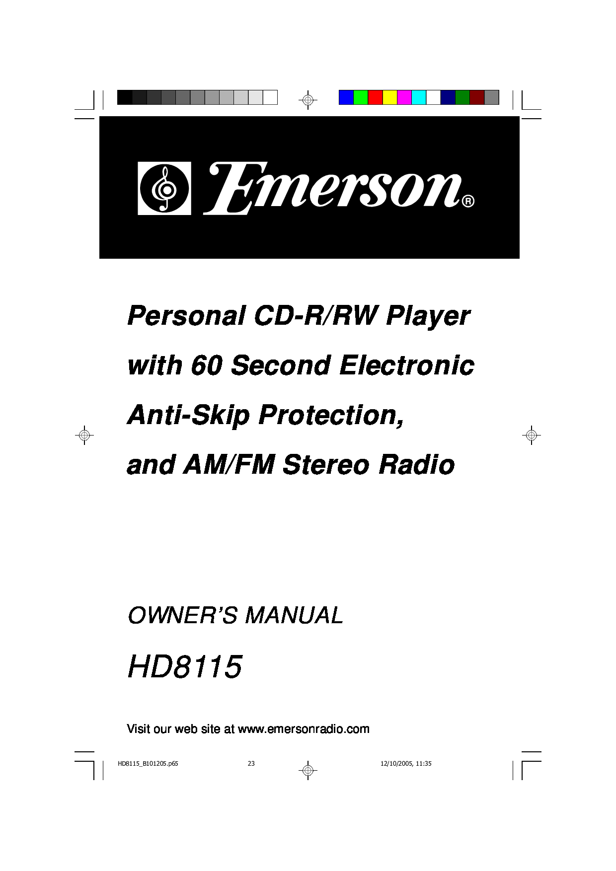 Emerson CD Player manuals