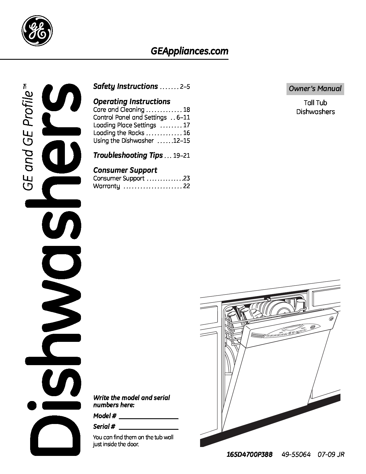 GE Dishwasher manuals