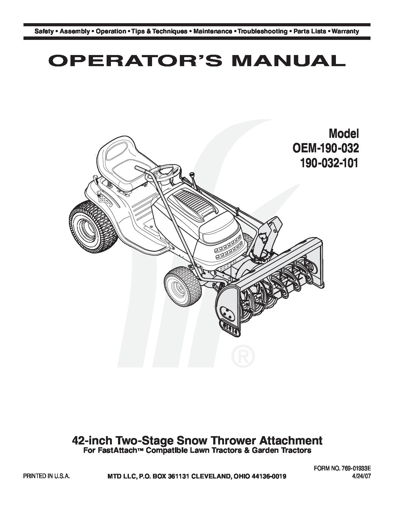 MTD Snow Blower manuals