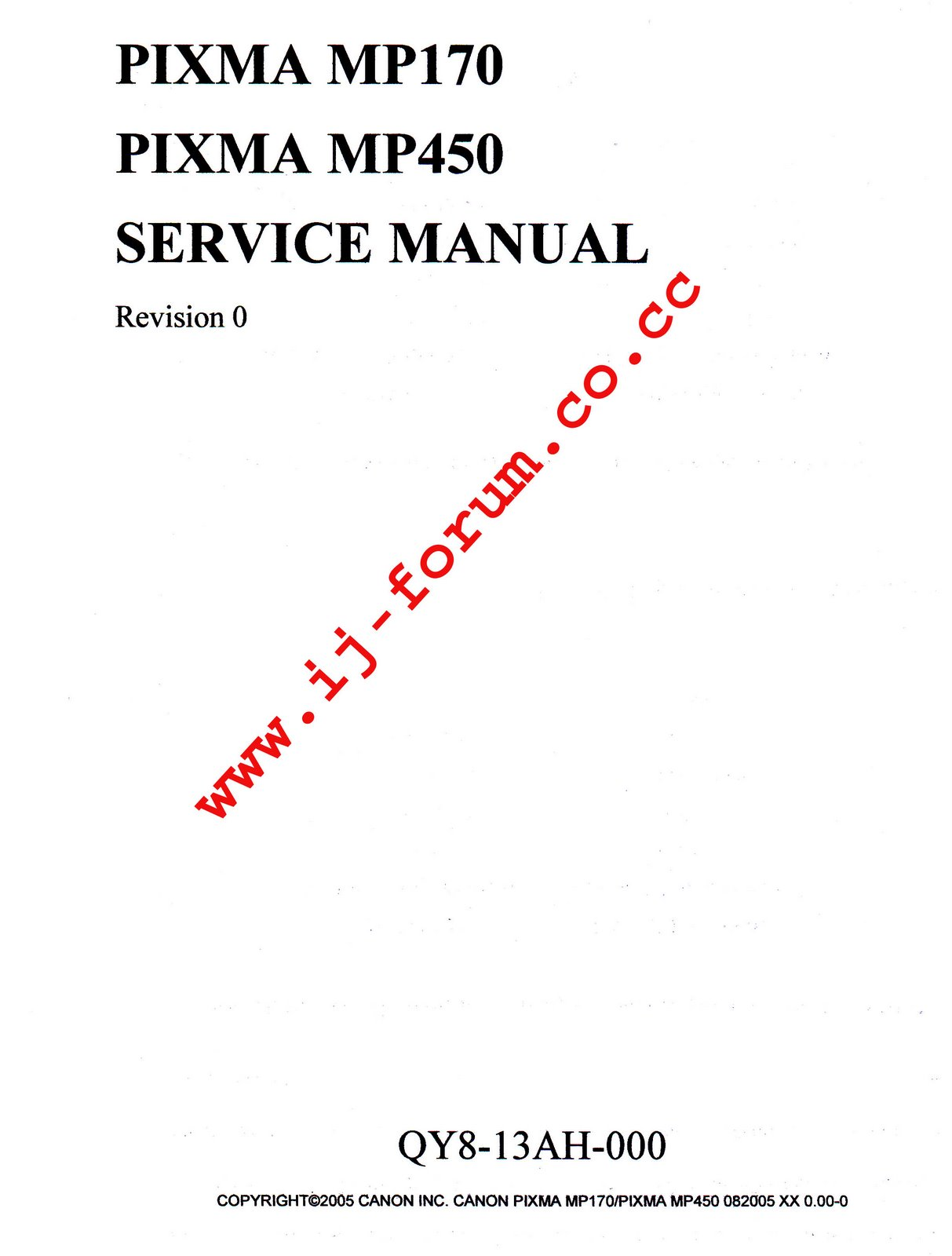 CANON PIXMA MP170 MP450 SERVICE MANUAL + PARTS CATALOG
