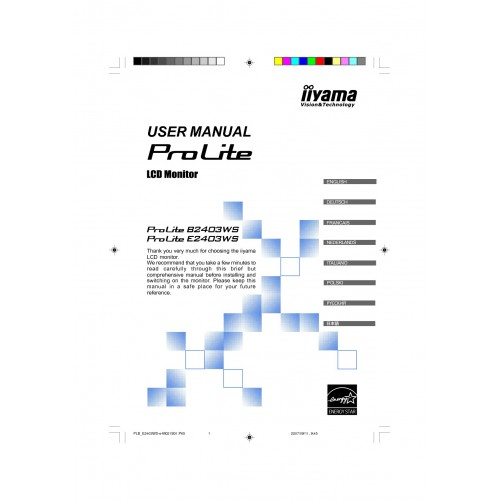 Iiyama ProLite E2403WS 24 inch Monitor User Guide Manual