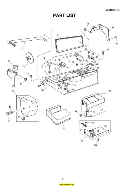 Janome 4900QC Memory Craft Sewing Machine Service-Parts Manual