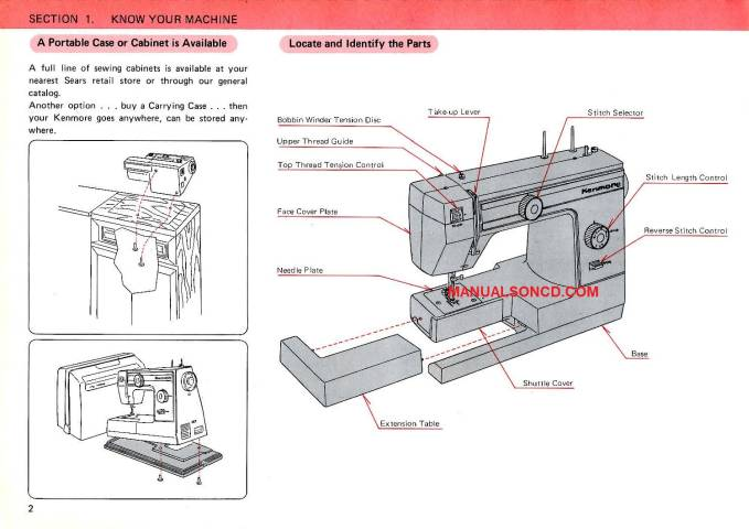 Kenmore 385.101118 Embroidery Sewing Machine Instruction