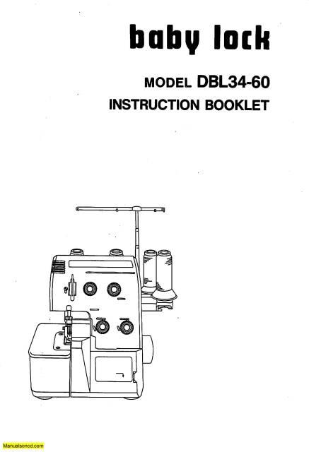 Baby Lock DBL34-60 Serger Instruction Manual