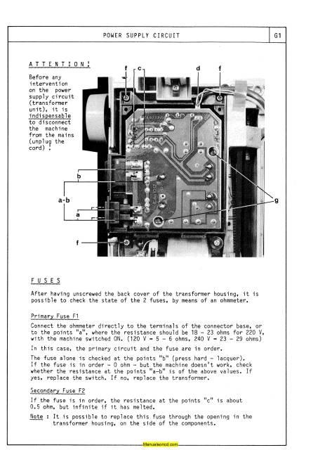 Elna 6000 Sewing Machine Service-Parts Manual