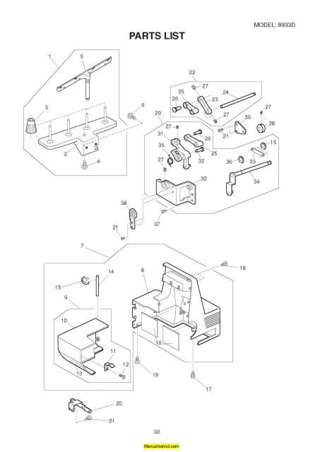 Janome 8933D Sewing Machine Service-Parts Manual