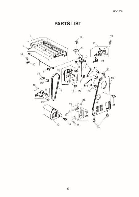 Janome HD3000 Sewing Machine Service-Parts Manual