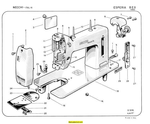 Necchi Esperia BEG 1960 Sewing Machine Parts Manual