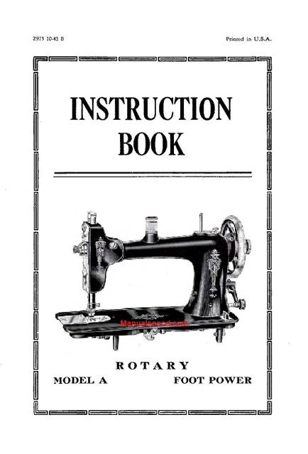 Eldredge Model A Rotary Sewing Machine Instruction Manual