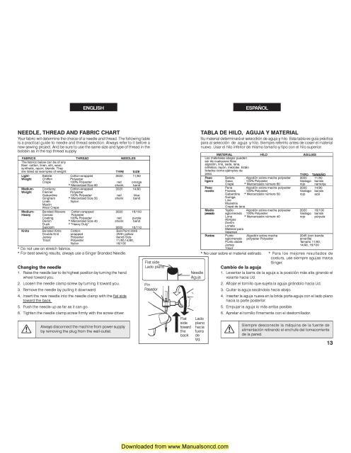 Singer 2639 Sewing Machine Instruction Manual