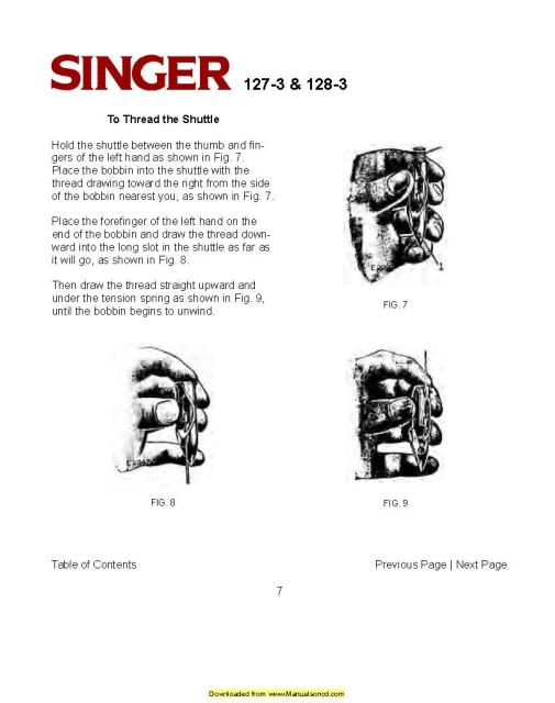 Singer 127 Sewing Machine Instruction Manual