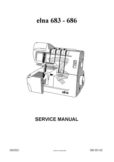 Elna 683-686 Sewing Machine Service Manual Plus Parts