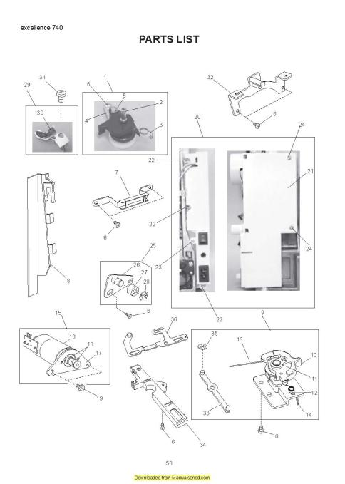 Elna 740 eXcellence Sewing Machine Service-Parts Manual