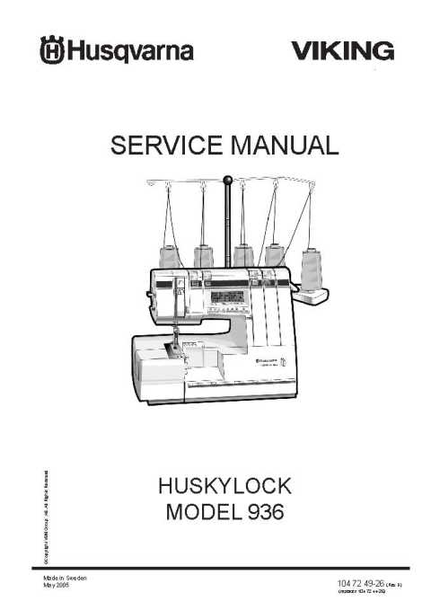 Husqvarna Viking Huskylock 936 Service-Parts Manual