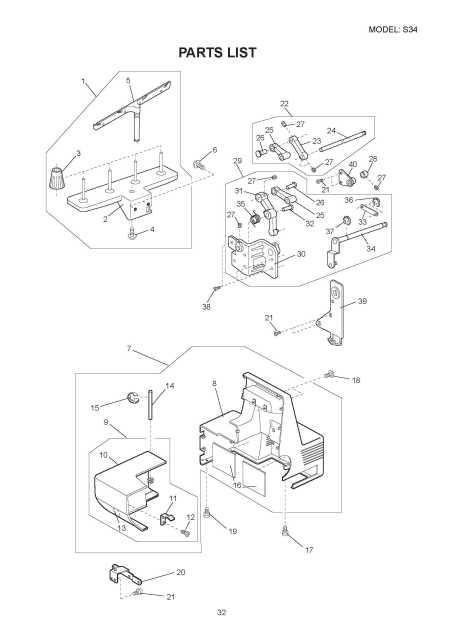 Necchi S34 Sewing Machine Service Manual-Parts Diagrams