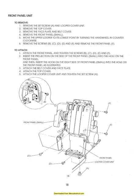 Janome 604D Serger Sewing Machine Service Manual