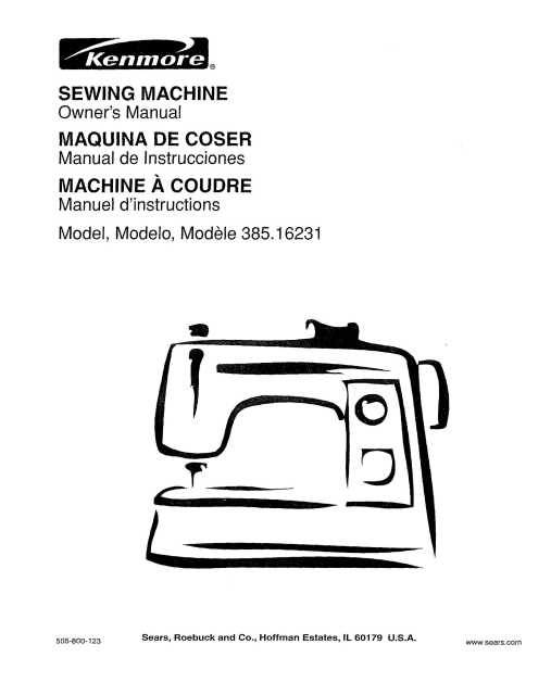 Kenmore 385.16231 Sewing Machine Instruction Manual